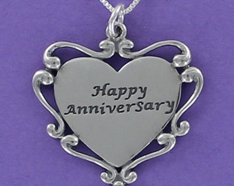 Happy Anniversary Heart Necklace - 925 Sterling Silver on Gift Card with Message