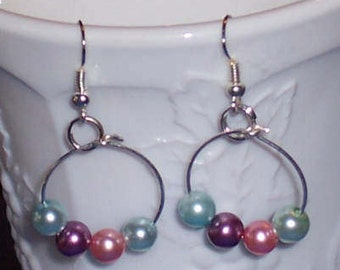 Loop Drop Earrings in Light Turquoise,Pink,and Purple Glass bead.  Free Shipping