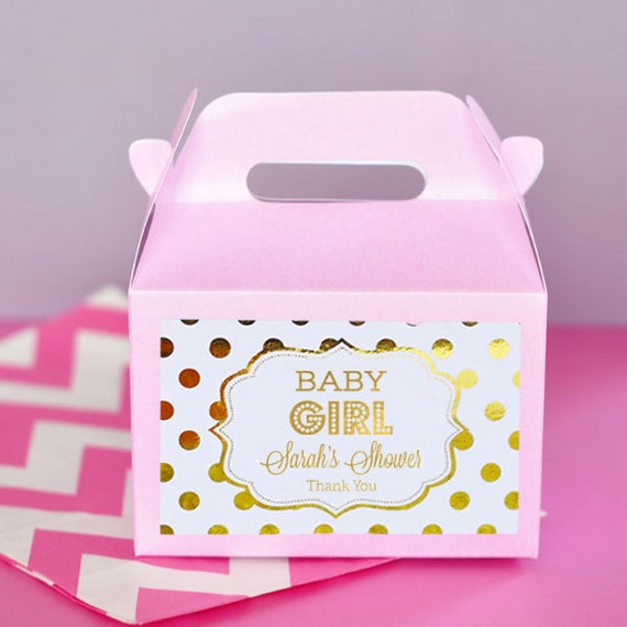 Pink And Gold Baby Shower Favor Boxes Girl Baby Shower Party