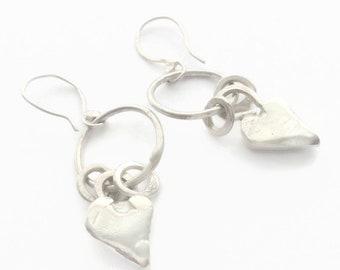 925 Sterling Silver Hoop & Heart Charm Dangle Earrings - Hallmarked