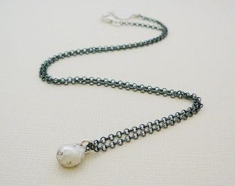 Lucky Nugget pendant necklace, Sterling Silver oxidized chain Charm Pendant