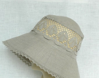 Linen hat, summer hat, women's hat, Oeko Tex