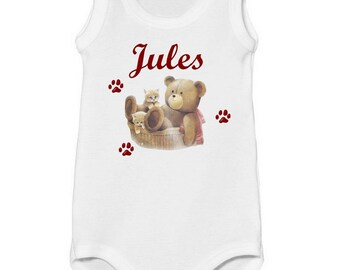 Onesie tank top Teddy bear and kitten personalized with name