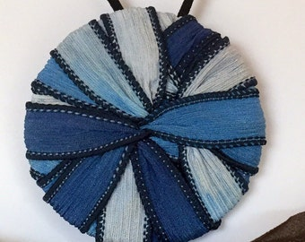 Abstract blue statement necklace - large, silk ribbon, unique handmade jewelry
