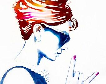 Audrey Rocks Art Print Fashion Illustration Vintage Glamour 1960s Style Icon Hot Pink Hair Salon Decor