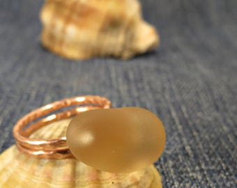 Cream Pink Sea Glass Ring Valentines Day Gift for Her Sea Glass Jewelry Nature Lover Gift Beach Glass Ring Beach Glass Jewelry