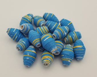 Blue Yellow | Paper beads | Paper Bead Jewelry | Recycled Upcycled | Loose Paper Beads | Jewelry Supplies | Beading Supplies | Bicone