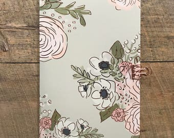 Gray Floral Travelers  Notebook - Midori Insert - TN Insert - Gray Floral Notebook - Scrapbook Insert - Planning Insert - Various Sizes