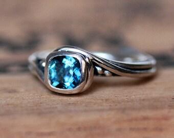 London blue topaz engagement ring blue, cushion cut engagement ring, alternative, swirl ring, eco friendly engagement ring, pirouette custom