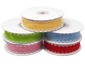 Scalloped Edge Faux Jute Ribbon, 1-Inch, 10-Yards