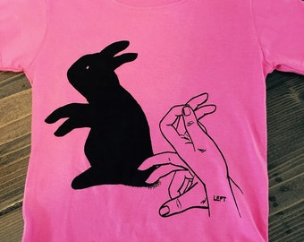 Bunny Toddler Tshirt Screen Printed Shadow Puppet, Rabbit