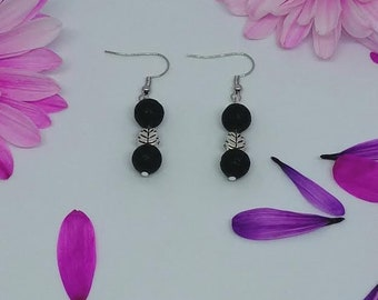 Lava Rock Bead Leaf Earrings - Diffuser Earrings