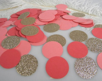Coral Wedding Confetti | Champagne Gold Glitter & Coral Table Scatter | Bridal Baby Shower Party Supplies | Circle Confetti | 150 pcs
