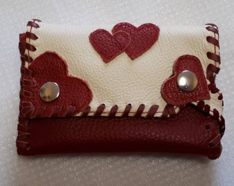 change purse,portemonnaie,wallet,leather,with heart red hearts,women purse,leather purse,leather wallet,lether portemonnaie,red purse, love,