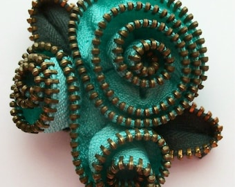 Aqua Abstract Floral Brooch / Zipper Pin by ZipPinning 3147