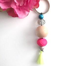 beaded tassel keychain - bag charm keychain - bohemian women's accessory - women's gift - keychain gift