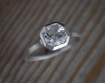 Octagonal Bezel Ring, Silver White Topaz Ring, Non Diamond Engagement Ring in Nickel Free Recycled 925, Asscher Shaped Ring, Solitaire Ring