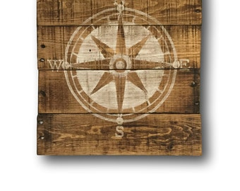 Nautical Compass Sign / Nautical Nursery/  Nautical Wall Hanging