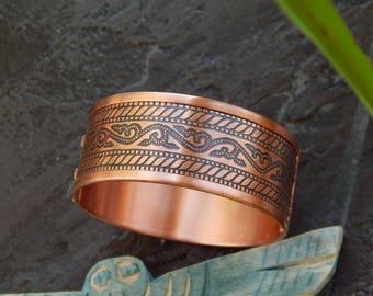 copper bracelet, bracelet, wide bracelet wide copper bracelet. bracelet patterned, a bracelet with a pattern, women's bracelet