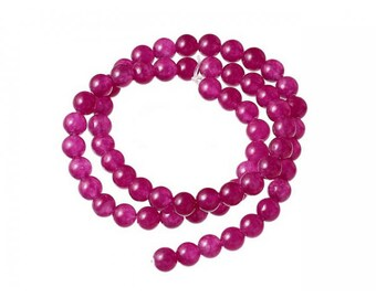 Agate beads 60 natural 6mm Fuchsia color