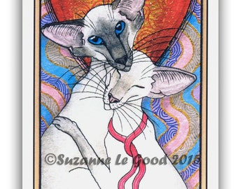 SIAMESE CAT TAROT Glittery Valentines Day Card by Suzanne Le Good