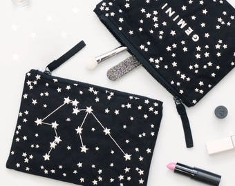 Astrology Gifts - Constellation Bag - Star Sign Birthday Gift - Zodiac Sign Gifts - Zodiac Bag - Zodiac Canvas Pouch - Alphabet Bags