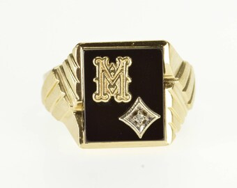 10k Black Onyx Diamond Overlay M Letter Initial Ring Gold