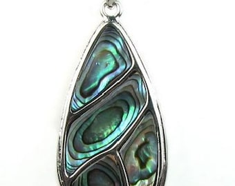 Abalone shell pendant, teardrop sea shell pendant, leather cord paua shell pendant necklace, abalone pendant jewelry, SH1530-AP