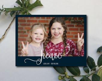 "Photo Christmas Card. ""Peace"" with navy border."