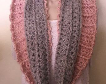 Pink & Gray Lusciously Soft Cowl - neck warmer, winter wear, chunky cowl, scarf, women's cowl, cowl, accessory