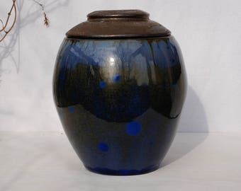 Ceramic urn for ashes, crystalline pottery urn, blue stoneware urn for human ashes, pet urn, keepsake urn, burial urn, funeral urn, pet urn.