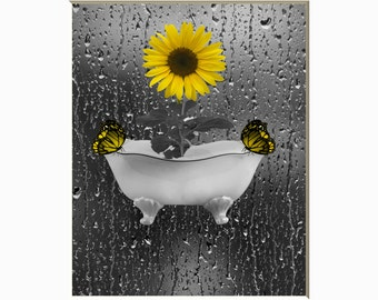 Bathroom Sunflower Butterflies Raindrops Decor, Sunflower Decor, Yellow Gray Wall Pictures, Matted Wall Art