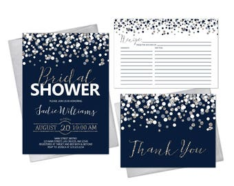 Navy Blue and Silver Bridal Shower Invitation Set with Thank You Card and Recipe Card Printable Digital Files or Prints Elegant Glitter