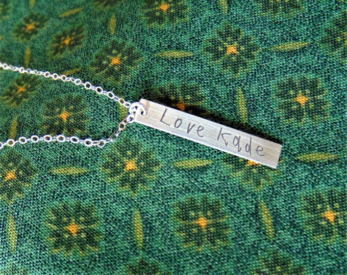 """Child's Writing on Vertical Bar Necklace (1.2""""x .2"""") Yellow Gold, Rose Gold, Sterling Silver"""