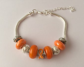 Bracelet charm's collection orange Ribbon ref 605