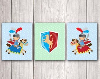 Knight Art (Set of 3) - 8x10 Baby Boy Nursery Art, Fairy Tale Art, Knight Nursery, Nursery Decor, Nursery Wall Art