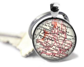 London Map Keychain, Personalized Keychain for Him, England, Boyfriend Gift, Travel Map Keychain, Birthday Gift, Mens Keychain,  A173