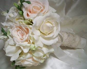 Lovely  Realtouch  Roses and Blush Roses Bridal  Bouquet Set