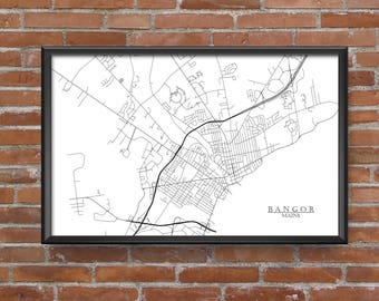 Bangor, Maine Map Art