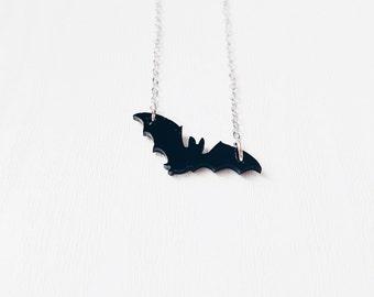 Black Acrylic Bat Necklace | Halloween Jewellery | Perspex Laser Cut Jewellery