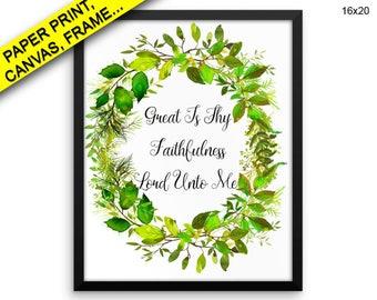 Faithfulness Wall Art Framed Faithfulness Canvas Print Faithfulness Framed Wall Art Faithfulness Poster Faithfulness Floral Wreath Art Wall