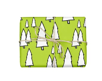 Wrapping Paper, Holiday Gift Wrap, Wrapping Paper Roll, Evergreen gift wrap, Christmas Wrapping Paper, Green and White Paper, Crafting Paper