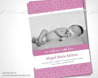 Open Dots Birth Announcement - Pink - DIY Printable
