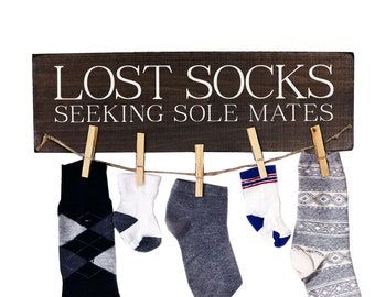 Lost Socks Sign Laundry Room Decor Wood