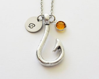 Hook Necklace, Fishing, Fish Hook, Engagement, Swarovski Birthstone, Birthday, Personalized, Monogram, Hand Stamped, Silver Letter Initial