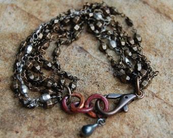 Antiqued Bronze Chain & Oxidized Copper Bracelet
