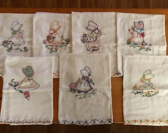 Set of 7 Hand Embroidered Tea Towels