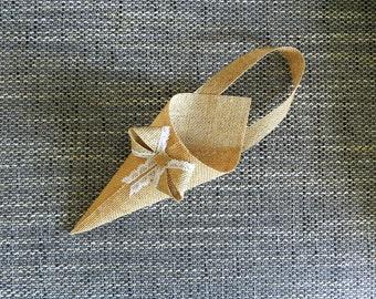 Burlap basket, Burlap cone, Burlap pew, Rustic Pew Cones, Burlap Pew Cones, Burlap Church Decor, Rustic Wedding Decor. Set of 6.