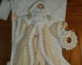 Finished  Bucilla stocking,White Christmas.