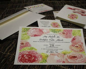 pkg 50 wedding invitations, reception, response, thank you cards WATERCOLOR pink green red peonies flowers floral spring fall summer bouquet